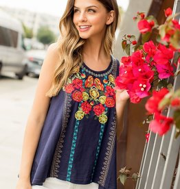 THML Embroidered Knit Floral Tank Top