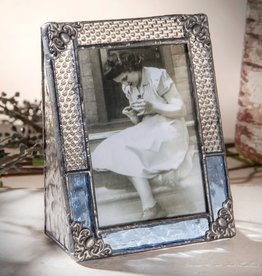J Devlin Blue Vintage Stained Glass Picture Frame