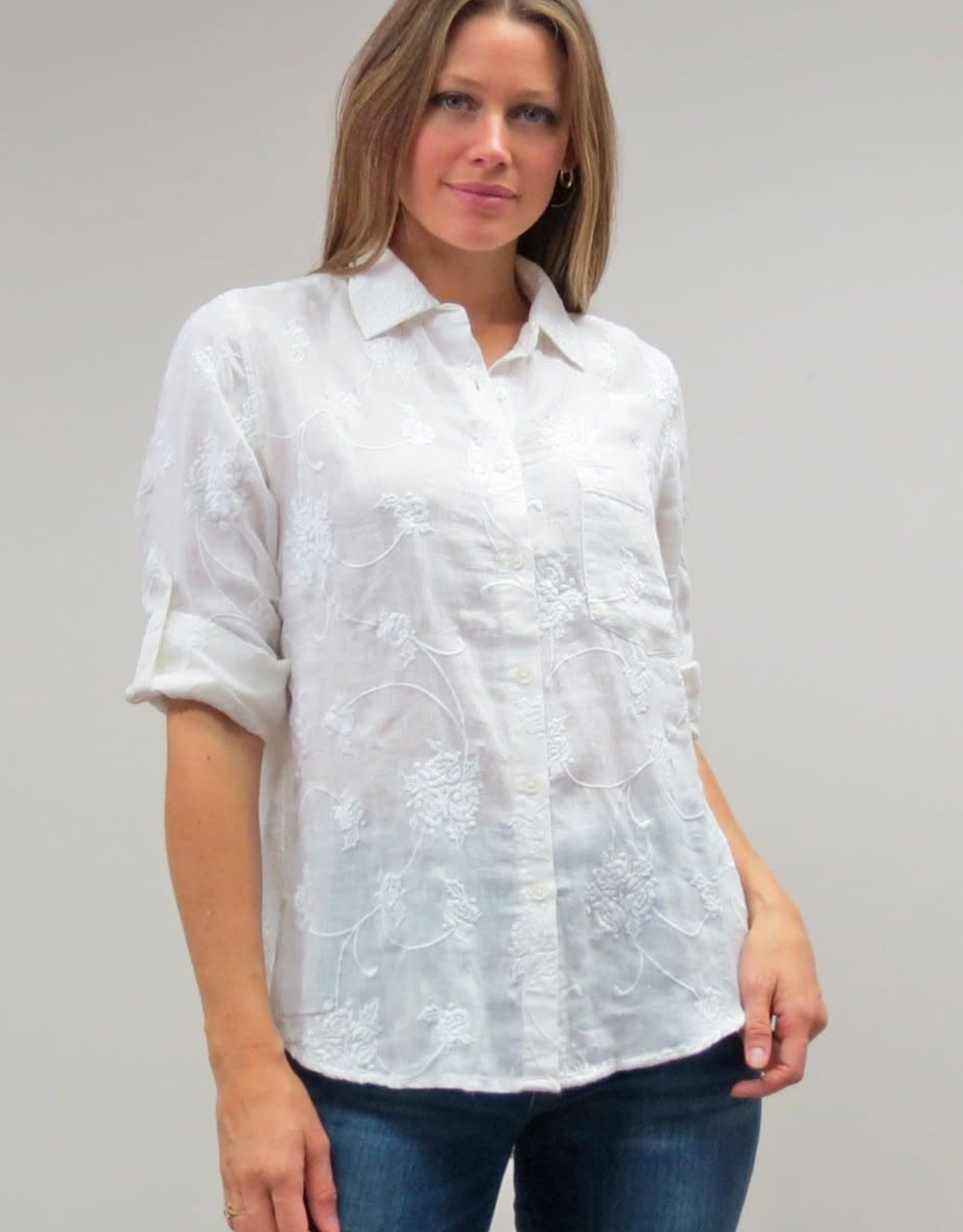 Caite Tonal Floral Embroidered Blouse