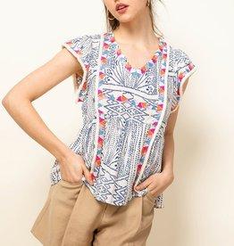 THML Embroidered V-neck Flutter Sleeve Top