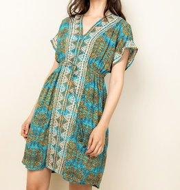 THML Blue Batik Embroidered Boho Dress