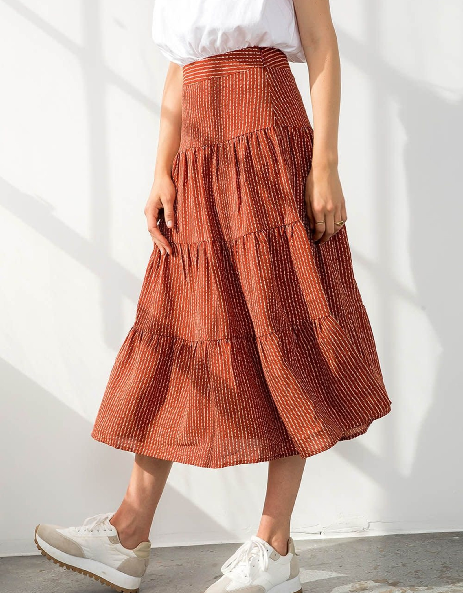 THML Dotted Stripe Tiered Skirt