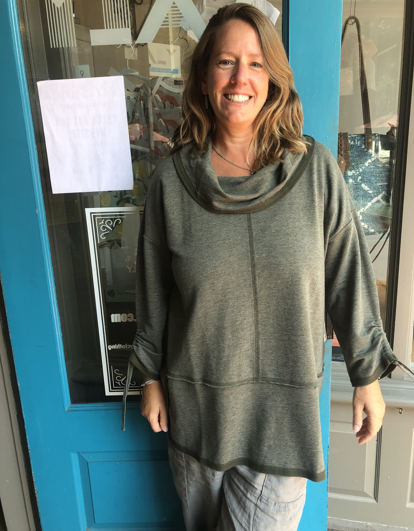 Habitat French Terry Ruched Cowl Tunic