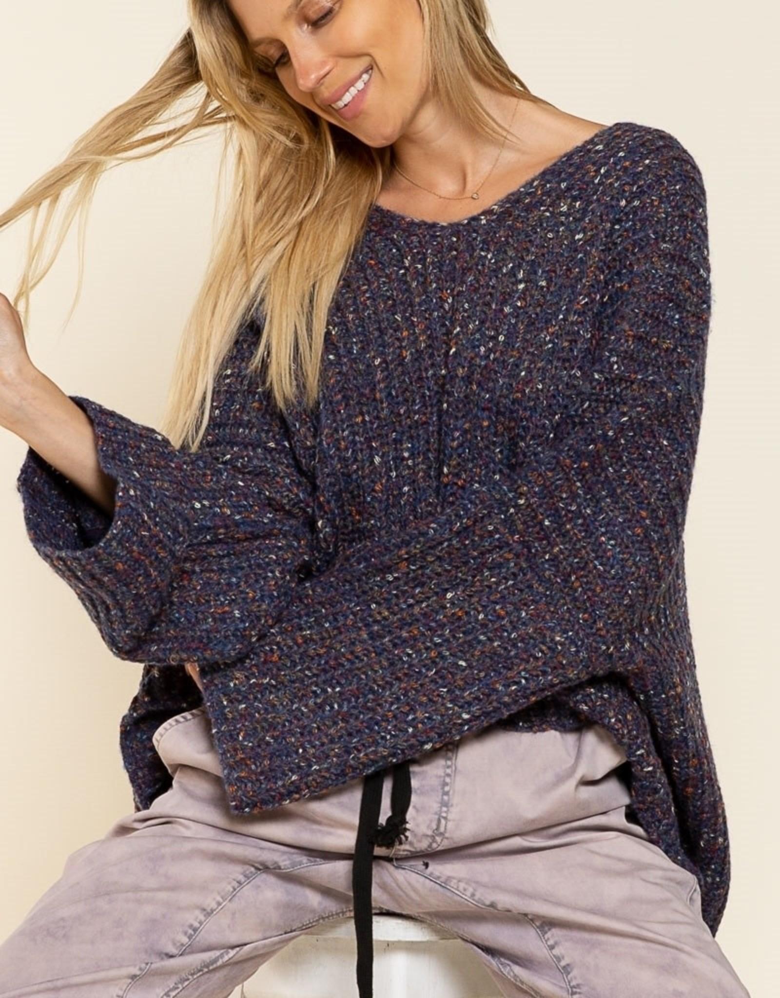 POL Clothing V-neck Confetti Pullover Sweater