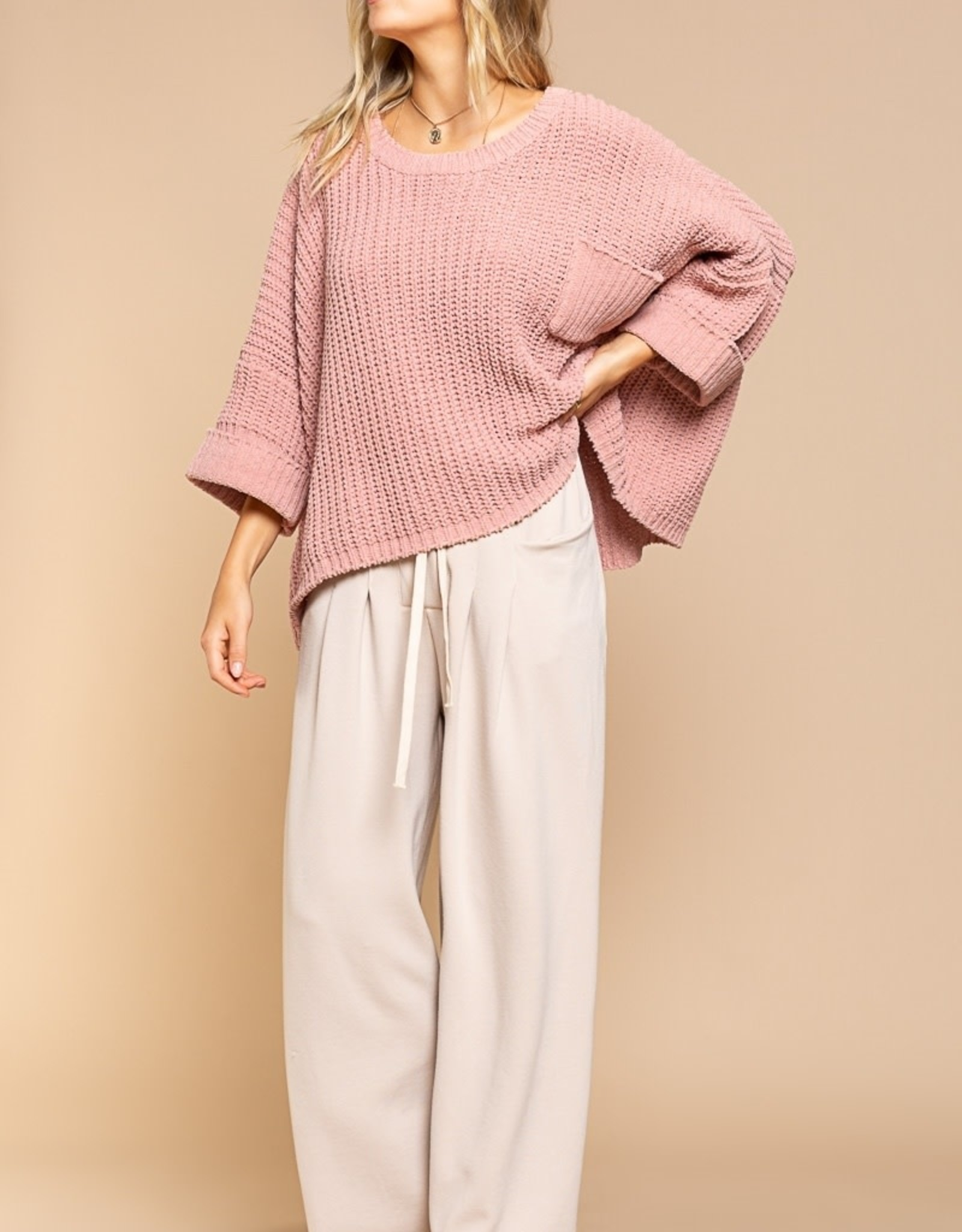 POL Clothing Chenille Pullover Sweater w Pocket