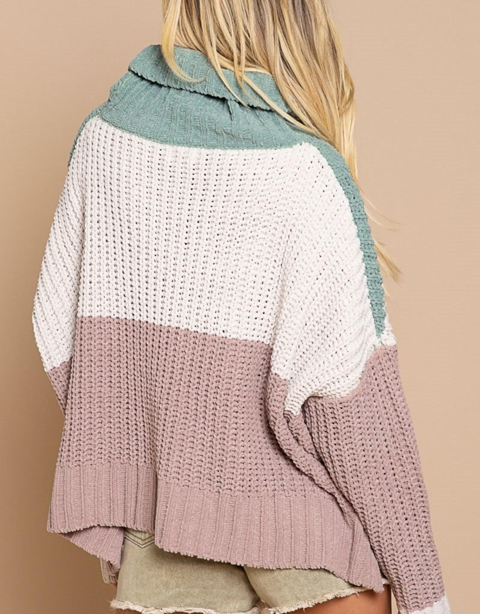 POL Clothing Chenille Colorblock Turtleneck
