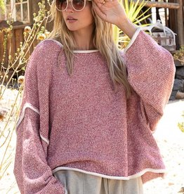 POL Clothing Cozy Cropped Sweater with White Trim
