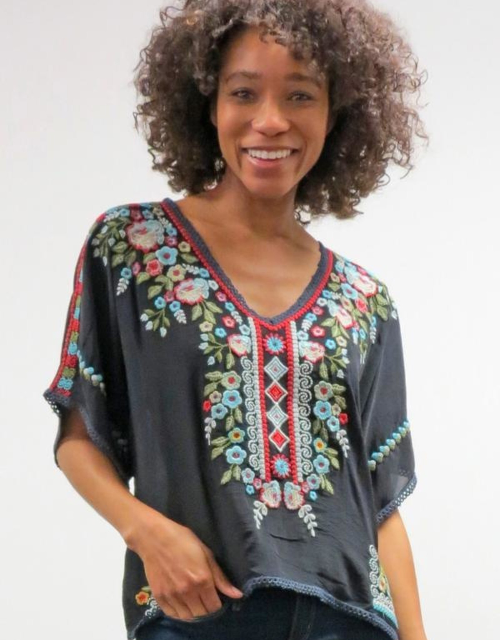 Caite Embroidered Scarlet Blouse
