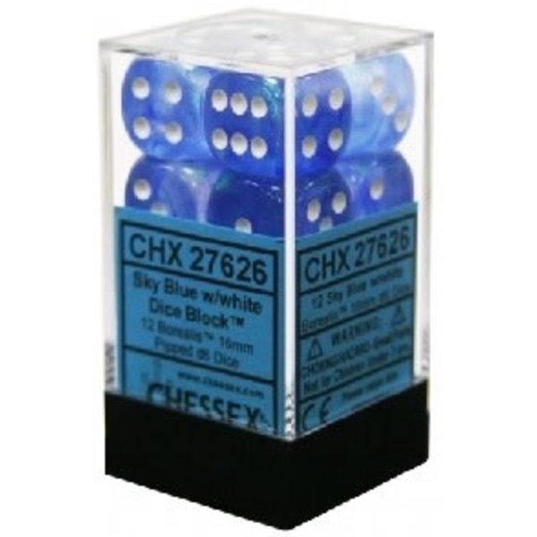CHESSEX BOREALIS 12D6 SKY BLUE/WHITE 16MM