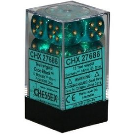 CHESSEX BOREALIS 12D6 TEAL/GOLD 16MM