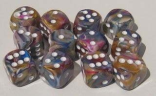 CHESSEX FESTIVE 12D6 CAROUSSEL/ WHITE 16MM