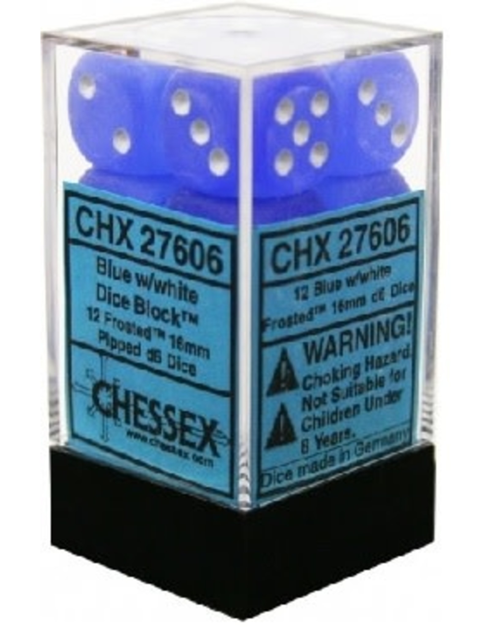 CHESSEX FROSTED 12D6 BLUE/WHITE 16MM CHX 27416