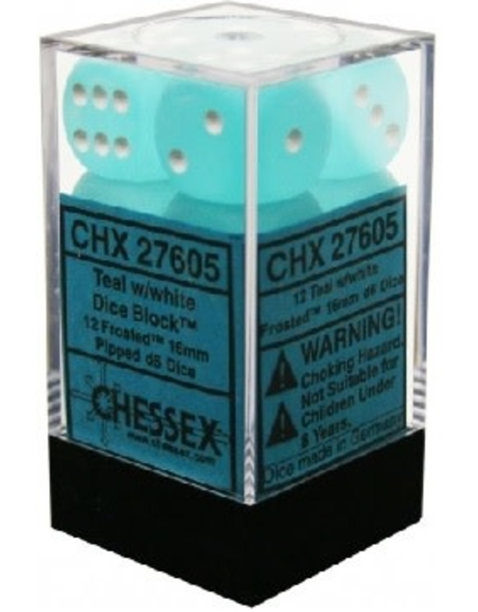 CHESSEX FROSTED 12D6 TEAL/WHITE 16MM