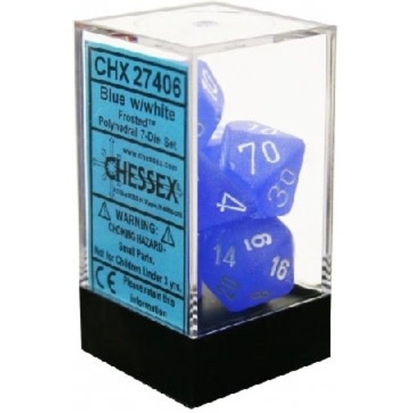 CHESSEX FROSTED 7-DIE SET BLUE/WHITE CHX 27416