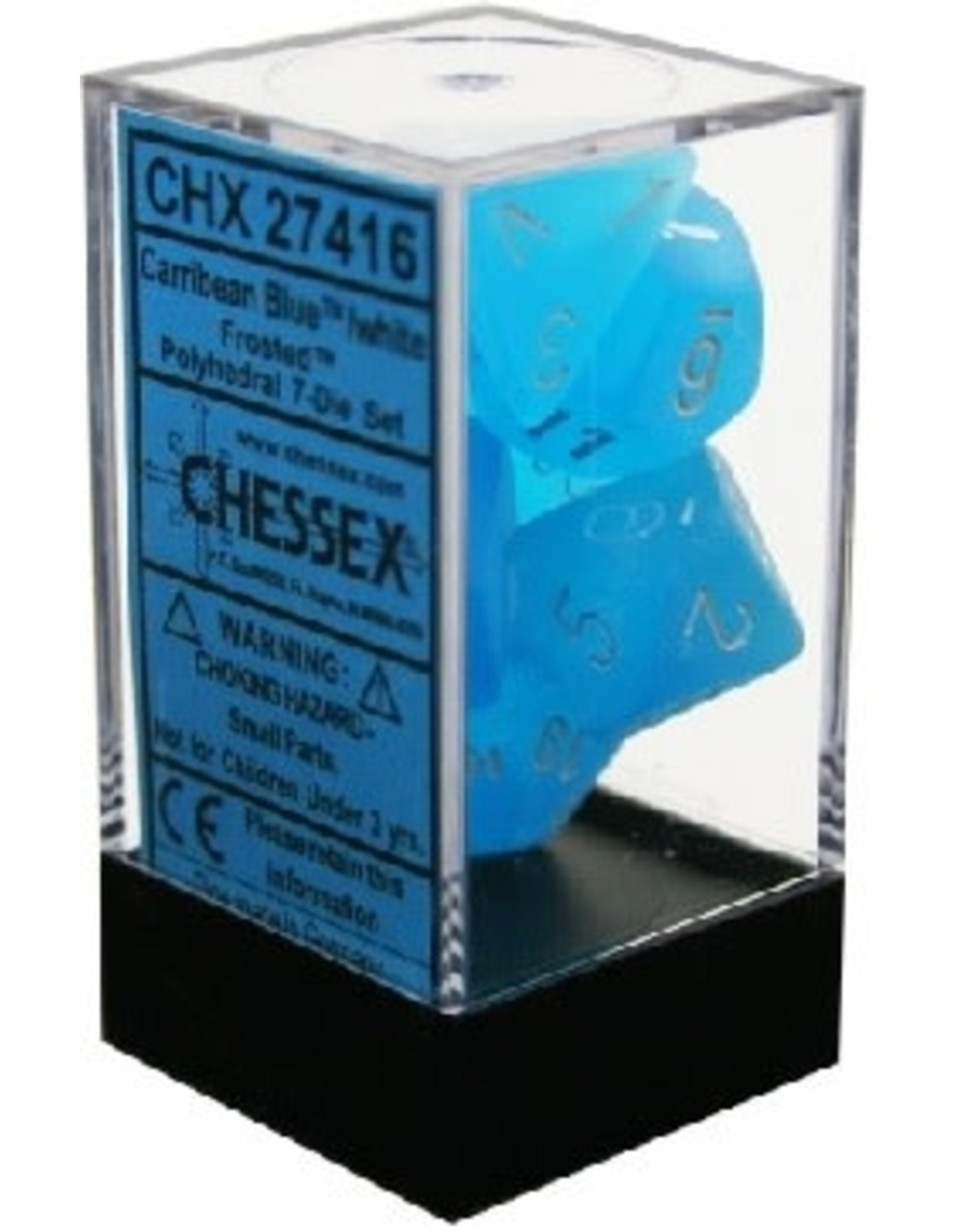 CHESSEX FROSTED 7-DIE SET CARIBBEAN BLUE/WHITE