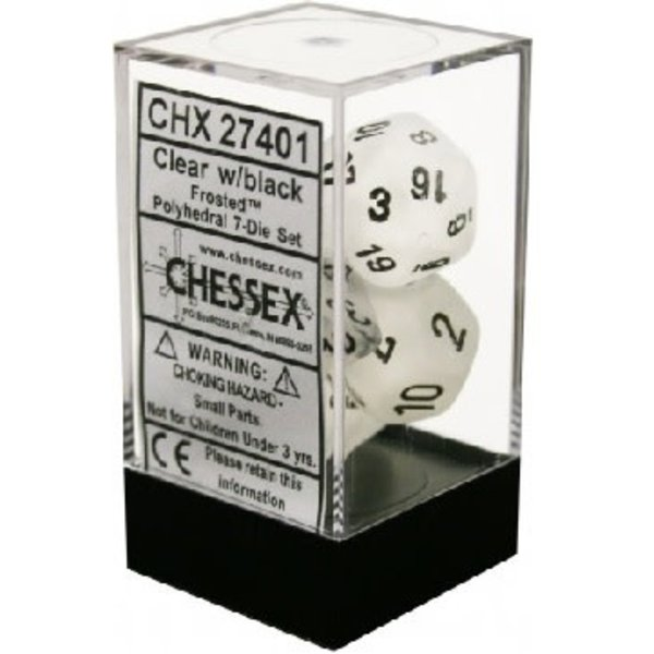 CHESSEX FROSTED 7-DIE SET CLEAR/BLACK
