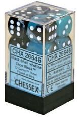 CHESSEX GEMINI 12D6 BLACK-SHELL/WHITE 16MM