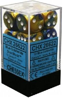CHESSEX GEMINI 12D6 BLUE-GOLD/WHITE 16MM