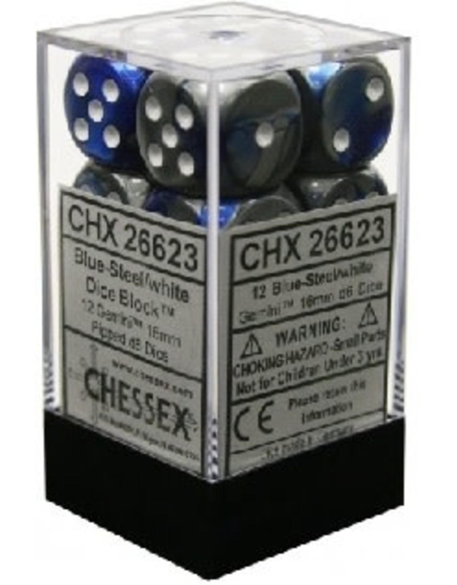 CHESSEX GEMINI 12D6 BLUE-STEEL/WHITE 16MM