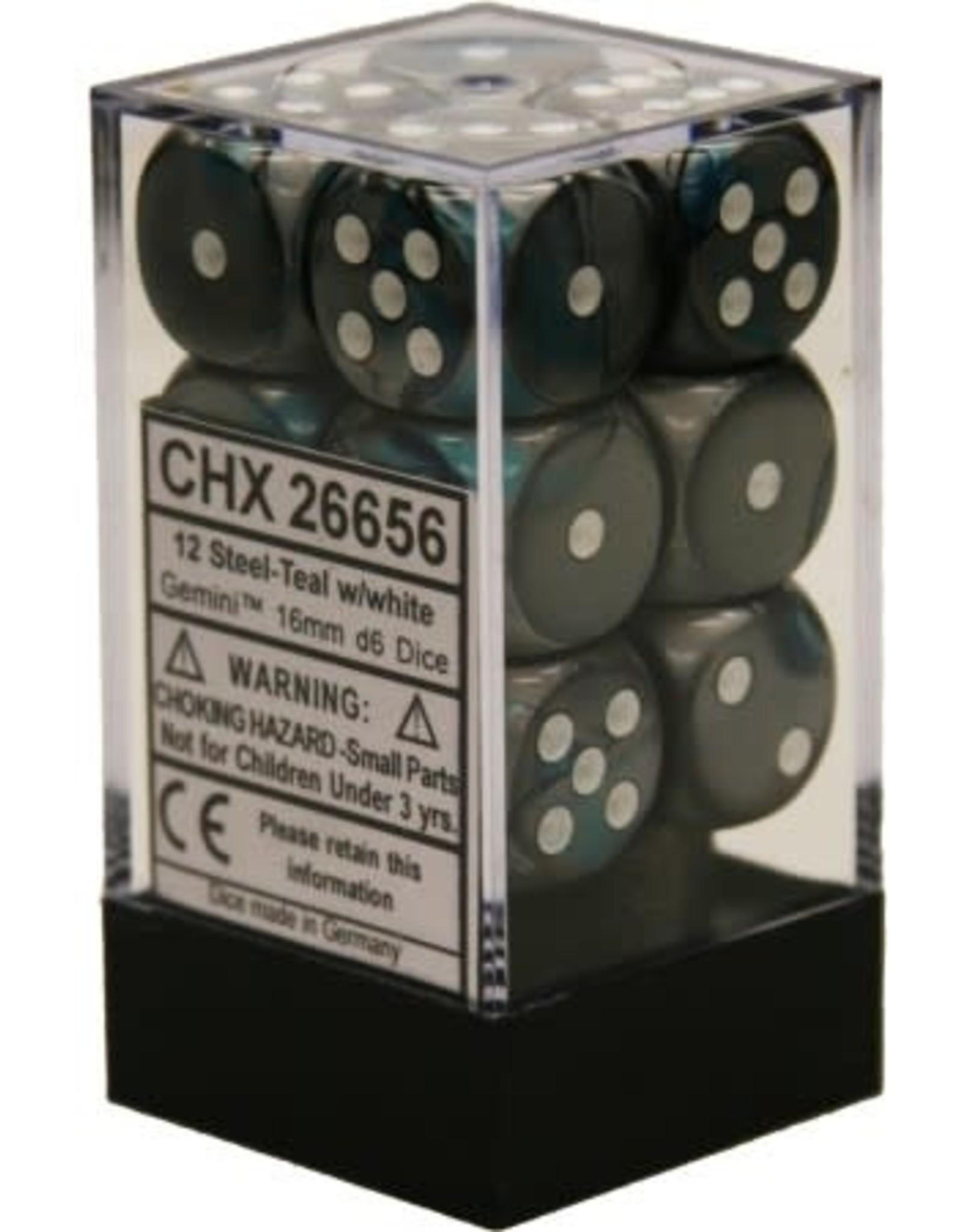 CHESSEX GEMINI 12D6 STEEL-TEAL/WHITE 16MM