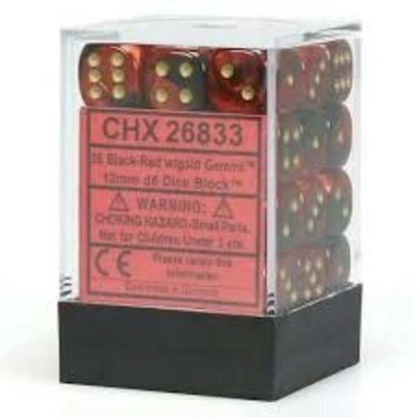 CHESSEX GEMINI 36D6 BLACK-RED/GOLD 12MM