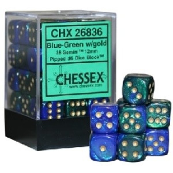 CHESSEX GEMINI 36D6 BLUE-GREEN/GOLD 12MM
