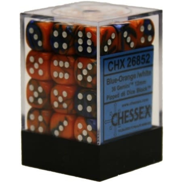 CHESSEX GEMINI 36D6 BLUE-ORANGE/WHITE 12MM