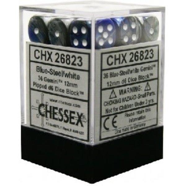 CHESSEX GEMINI 36D6 BLUE-STEEL/WHITE 12MM