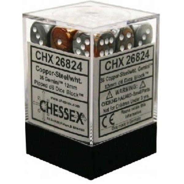 CHESSEX GEMINI 36D6 COPPER-STEEL/WHITE 12MM