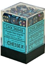 CHESSEX GEMINI 36D6 PURPLE-TEAL/GOLD 12MM