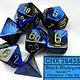 CHESSEX GEMINI 7-DIE SET BLACK-BLUE/GOLD