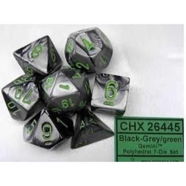 CHESSEX GEMINI 7-DIE SET BLACK-GREY/GREEN