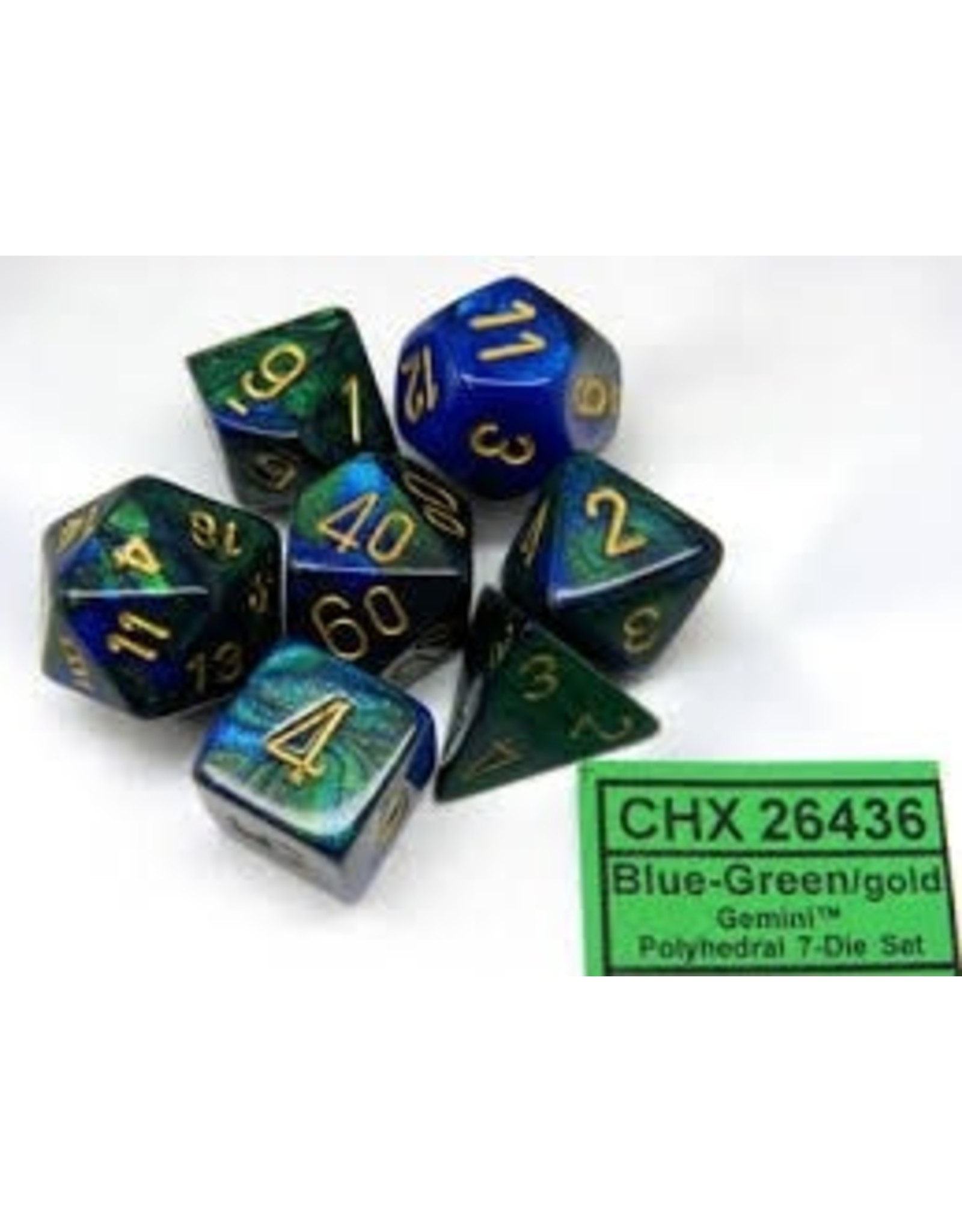 CHESSEX GEMINI 7-DIE SET BLUE-GREEN/GOLD