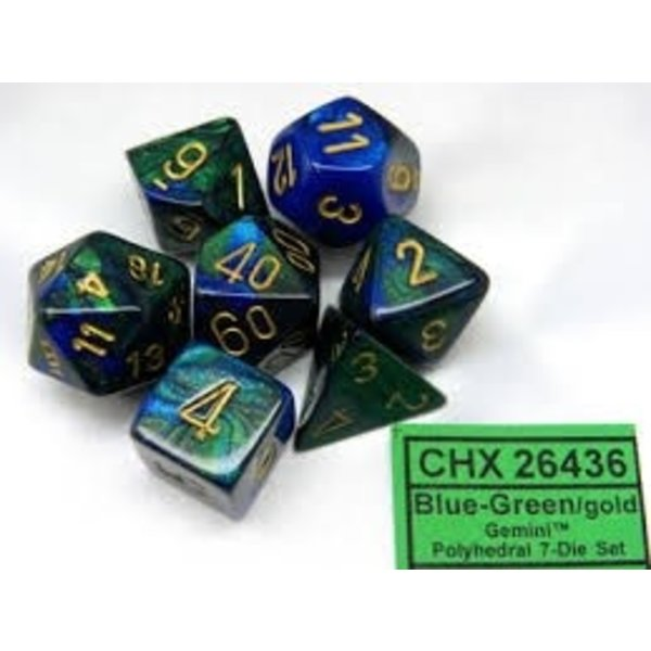 CHESSEX GEMINI 7-DIE SET BLUE-GREEN/GOLD