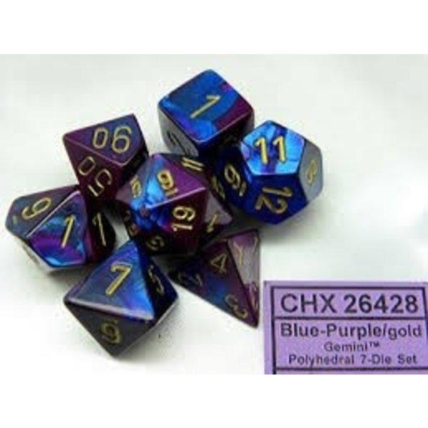 CHESSEX GEMINI 7-DIE SET BLUE-PURPLE/GOLD