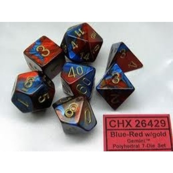CHESSEX GEMINI 7-DIE SET BLUE-RED/GOLD