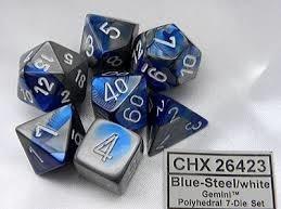CHESSEX GEMINI 7-DIE SET BLUE-STEEL/WHITE