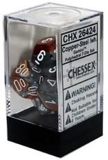CHESSEX GEMINI 7-DIE SET COPPER-STEEL/WHITE