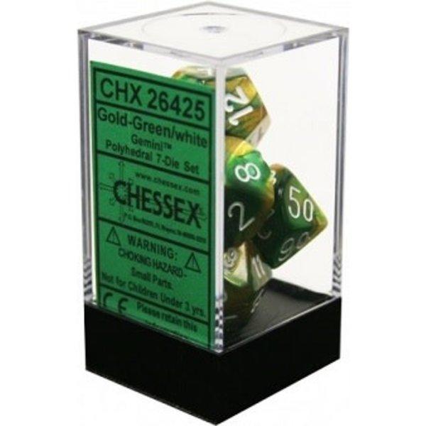 CHESSEX GEMINI 7-DIE SET GOLD-GREEN/WHITE