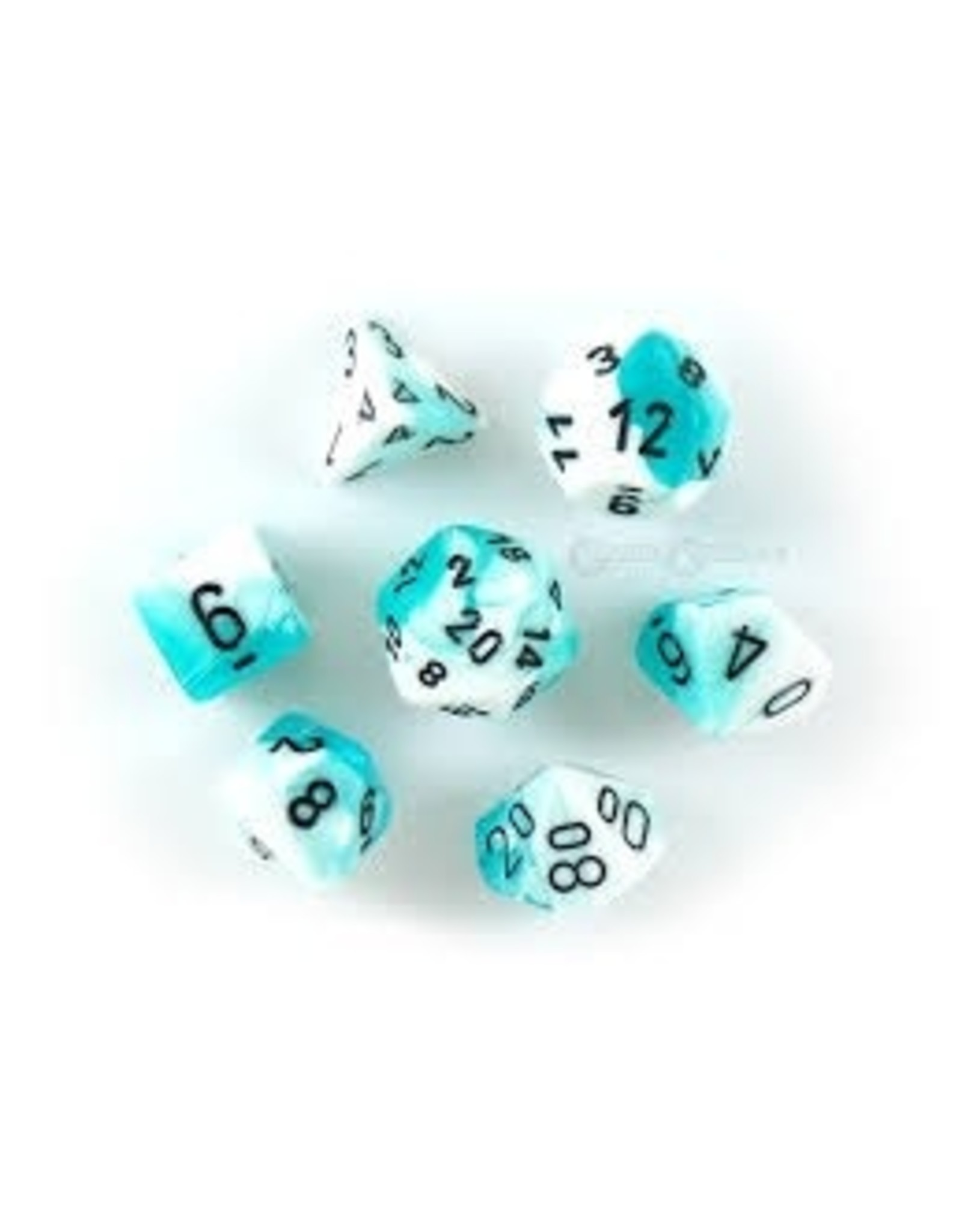CHESSEX GEMINI 7-DIE SET TEAL-WHITE/BLACK