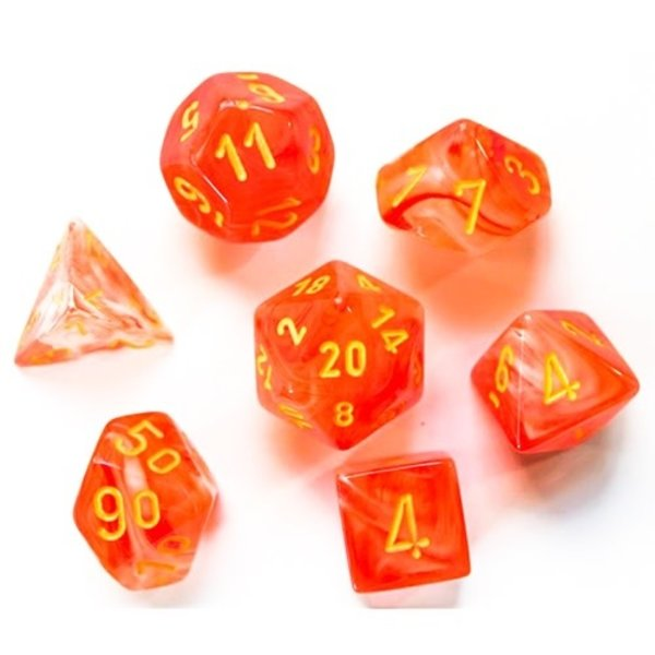CHESSEX GHOSTLY GLOW 7-DIE SET ORANGE/YELLOW
