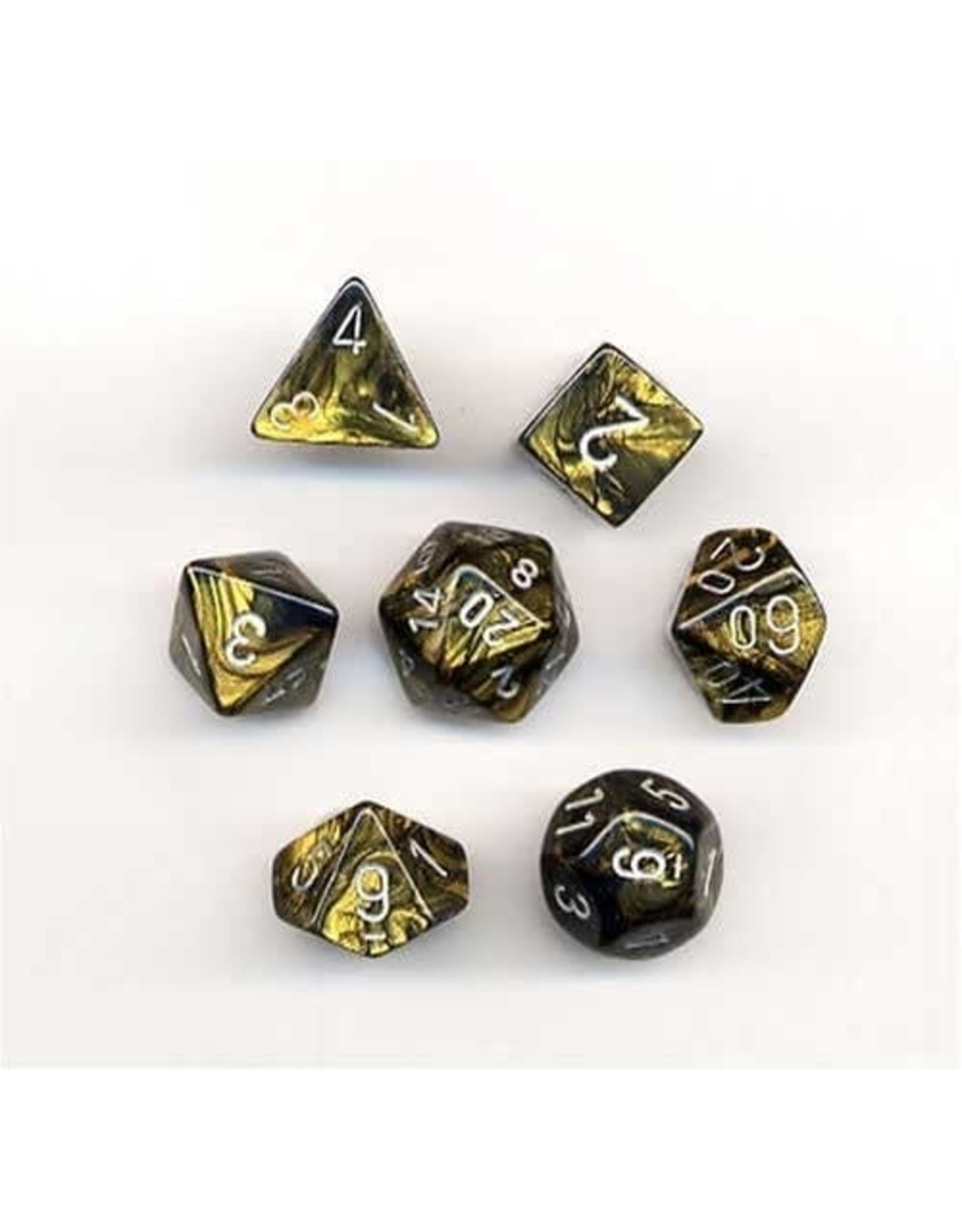 CHESSEX LEAF 7-DIE SET BLACK GOLD/SILVER