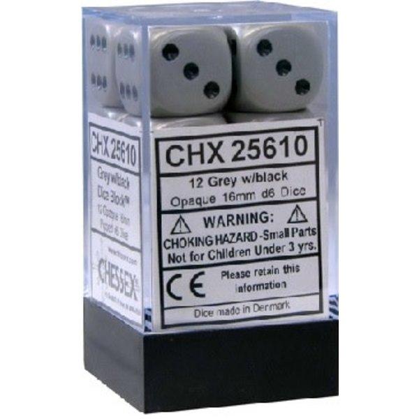 CHESSEX OPAQUE 12D6 DARK GREY/BLACK 16MM
