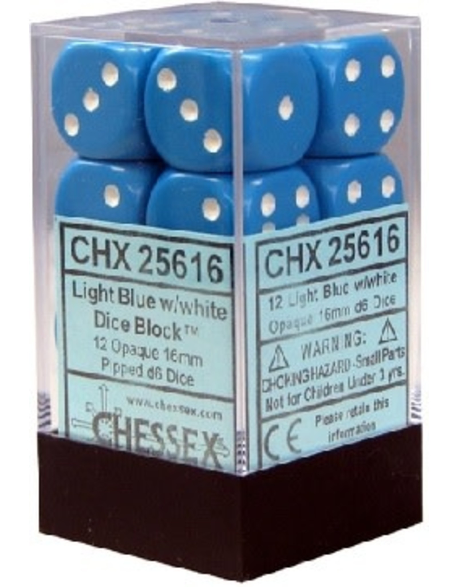 CHESSEX OPAQUE 12D6 LIGHT BLUE/WHITE 16MM