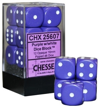 CHESSEX OPAQUE 12D6 PURPLE/WHITE 16MM