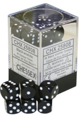 CHESSEX OPAQUE 36D6 BLACK/WHITE 12MM