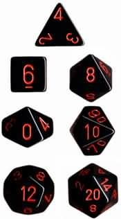 CHESSEX OPAQUE 7-DIE SET BLACK/RED