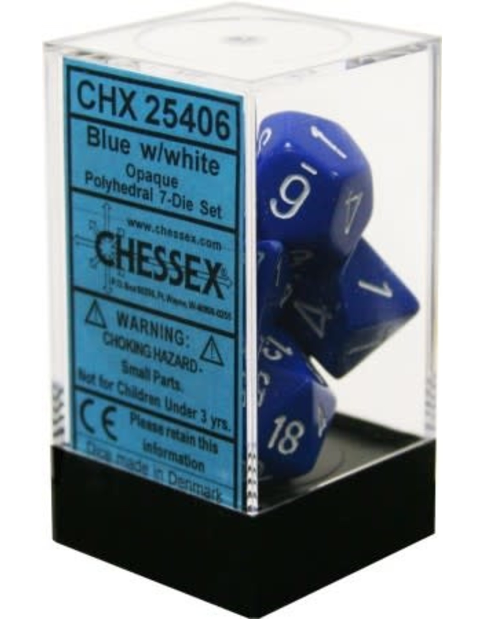 CHESSEX OPAQUE 7-DIE SET BLUE/WHITE