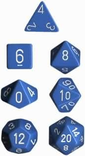 CHESSEX OPAQUE 7-DIE SET LIGHT BLUE/WHITE