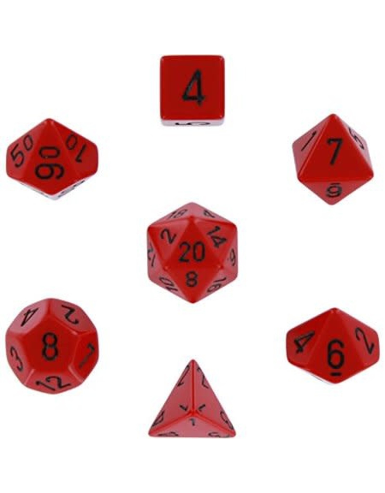 CHESSEX OPAQUE 7-DIE SET RED/BLACK